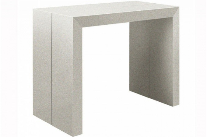 Table console extensible argent laqu for Table a rallonge console
