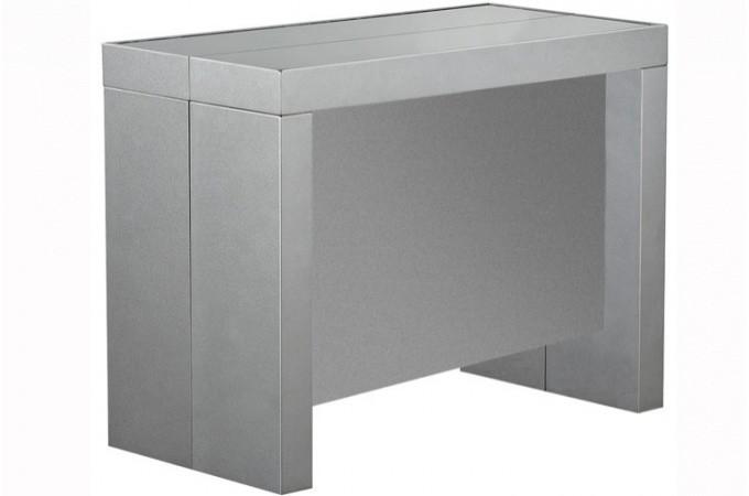 table console extensible argent laqu avec rangement ebay. Black Bedroom Furniture Sets. Home Design Ideas