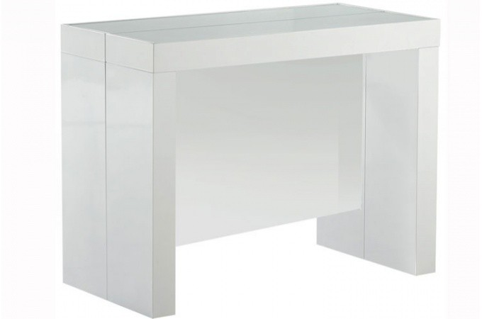 Table Console Extensible Transformable Avec Rangement Argent Laque