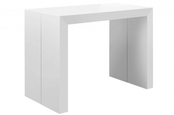 Table console extensible blanc laqu nicky 3 rallonges - Console extensible laque blanc ...