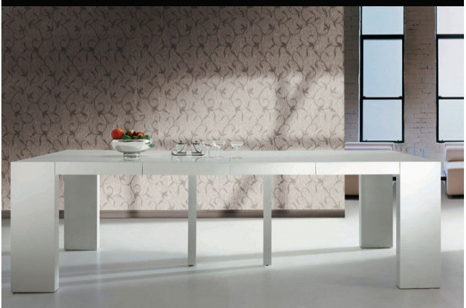Table console extensible blanc laqu nicky 3 rallonges chemin es bio thanol - Table console extensible 5 rallonges ...
