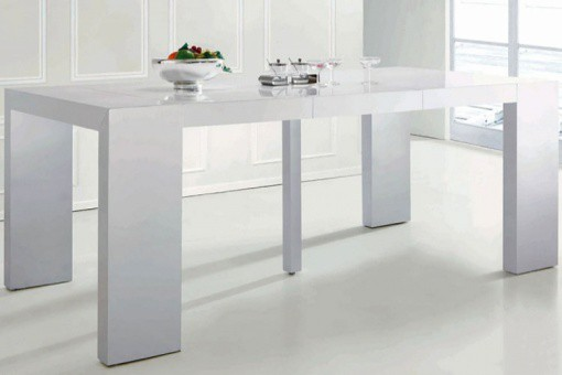 Table console extensible transformable blanche laqu - Table blanche laquee avec rallonge ...