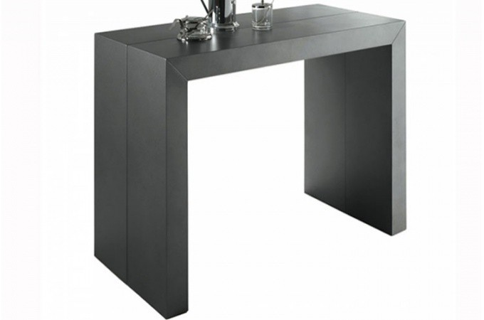 table console extensible gris satin nicky tables. Black Bedroom Furniture Sets. Home Design Ideas