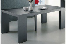 Table console extensible gris satiné 4 rallonges XL
