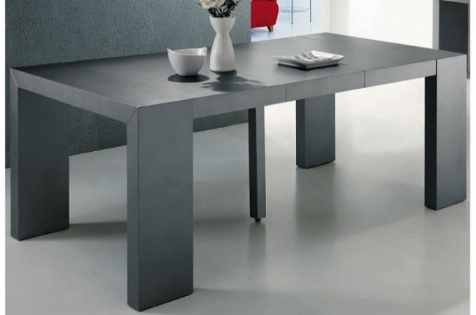 Table console extensible transformable gris satin for Table a manger avec rallonge pas cher