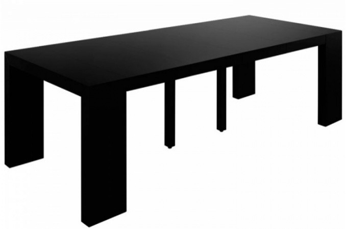 Table console extensible transformable noir laqu for Table rallonge noire