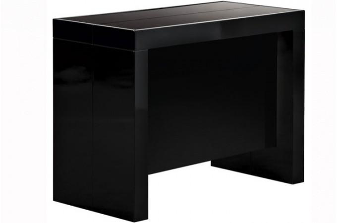 Table console extensible transformable avec rangement noir laqu declikdeco - Table console extensible noir ...