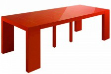 Table console extensible rouge laqué 4 rallonges XL - Table console design