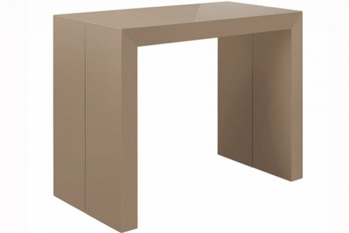 table console extensible taupe laqu pas ch re. Black Bedroom Furniture Sets. Home Design Ideas