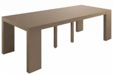 Table console extensible taupe laqué 4 rallonges XL, deco design