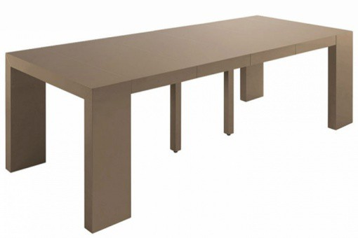 Table console extensible taupe laqué 4 rallonges XL