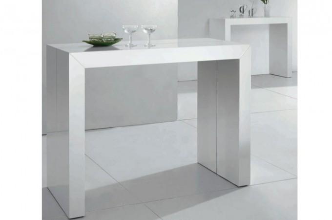table console extensible blanc laqu nicky 3 rallonges chemin es bio thanol pas cher. Black Bedroom Furniture Sets. Home Design Ideas