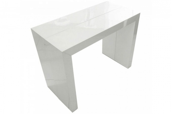 table console extensible transformable blanche laqu. Black Bedroom Furniture Sets. Home Design Ideas