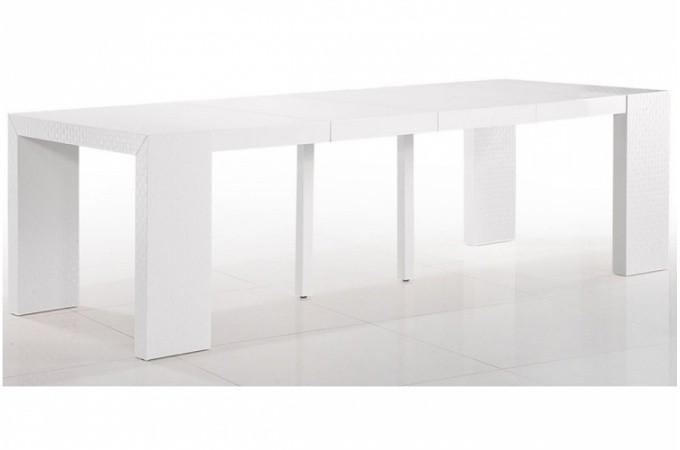 table console extensible laqu e blanc motif osier sarah. Black Bedroom Furniture Sets. Home Design Ideas