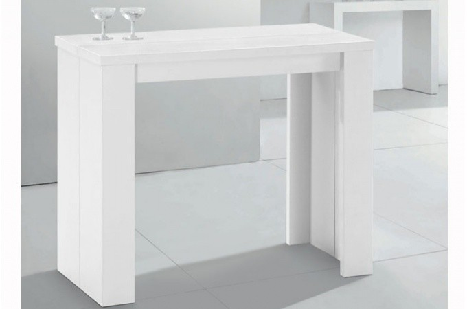 Table console extensible blanche pas ch re for Table blanche pliable