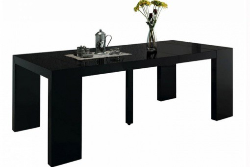 Table console extensible noir laqué 3 rallonges Nicky