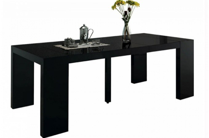Table console extensible noir laqu pas ch re - Table console pas chere ...