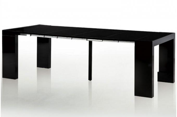 Table console extensible transformable avec rangement noir laqu declikdeco - Console extensible avec rangement ...