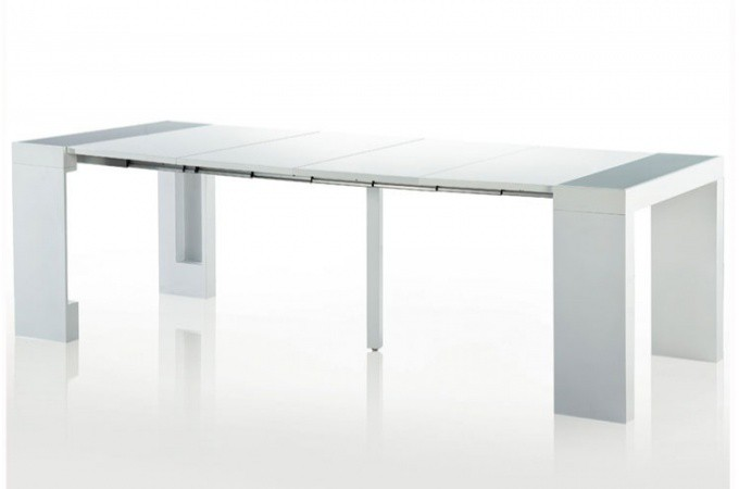 table console extensible transformable avec rangement argent laqu. Black Bedroom Furniture Sets. Home Design Ideas