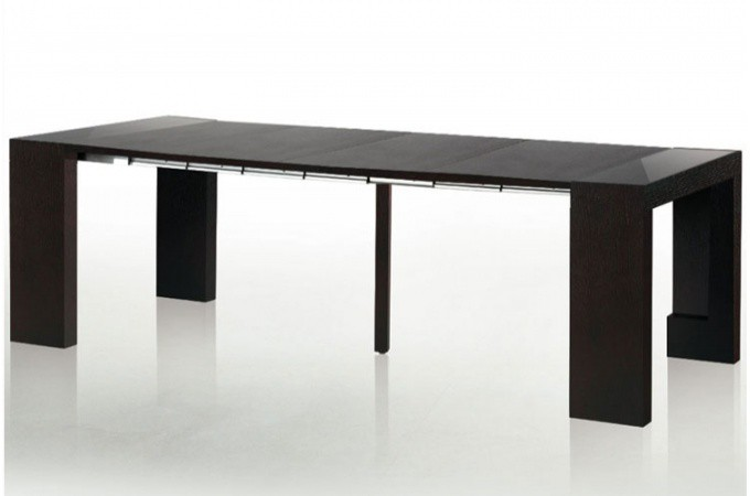 Table console extensible transformable avec rangement wengue - Console avec rangement ...