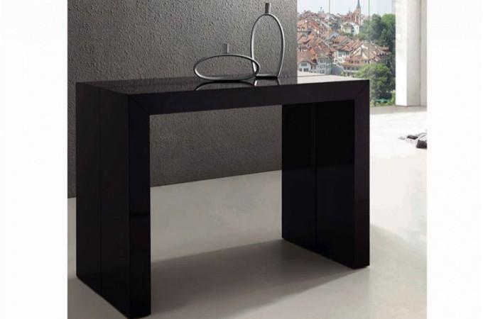 table console extensible noir laqu pas ch re. Black Bedroom Furniture Sets. Home Design Ideas