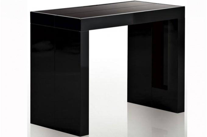 table console extensible transformable avec rangement noir laqu. Black Bedroom Furniture Sets. Home Design Ideas