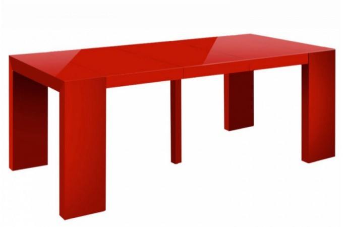 table console extensible rouge laqu. Black Bedroom Furniture Sets. Home Design Ideas