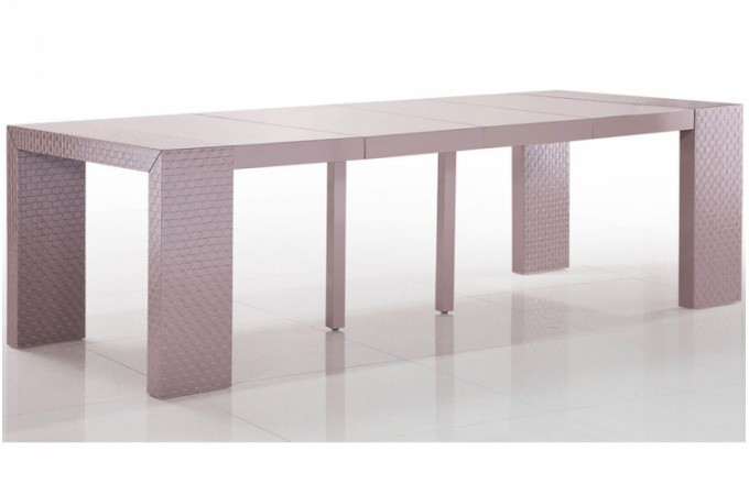 Table console extensible laqu e taupe motif osier sarah table console pas cher - Console extensible taupe ...