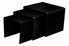 Table d'Appoint Set de 3 tables gigogne en verre noir, deco design