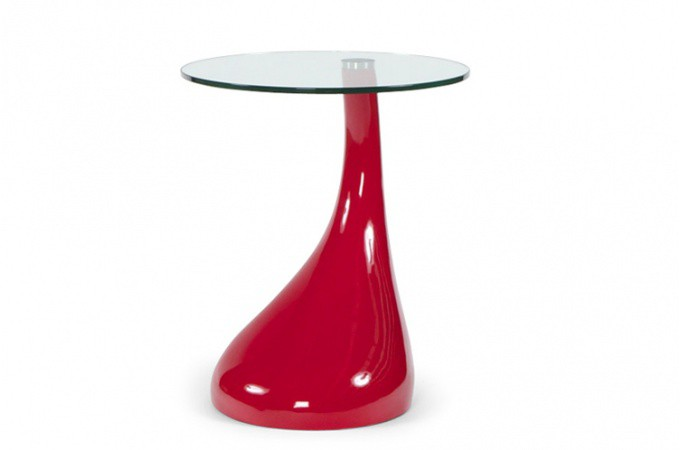 Table d 39 appoint design rouge laqu table de chevet for Table d appoint moderne