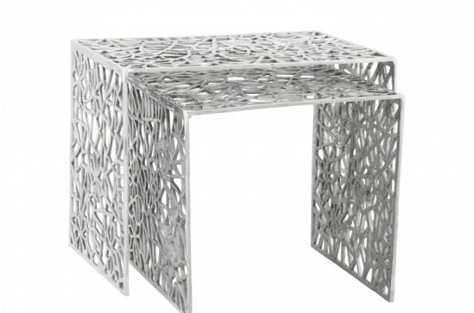 set de 2 tables gigones en alu alveoles tables d 39 appoint pas cher. Black Bedroom Furniture Sets. Home Design Ideas