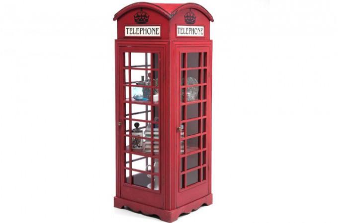 meuble de rangement cabine t l phoniue rouge achat meuble original. Black Bedroom Furniture Sets. Home Design Ideas