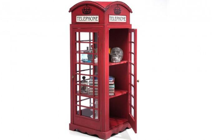 Meuble de rangement cabine t l phoniue rouge achat for Table de bar rouge
