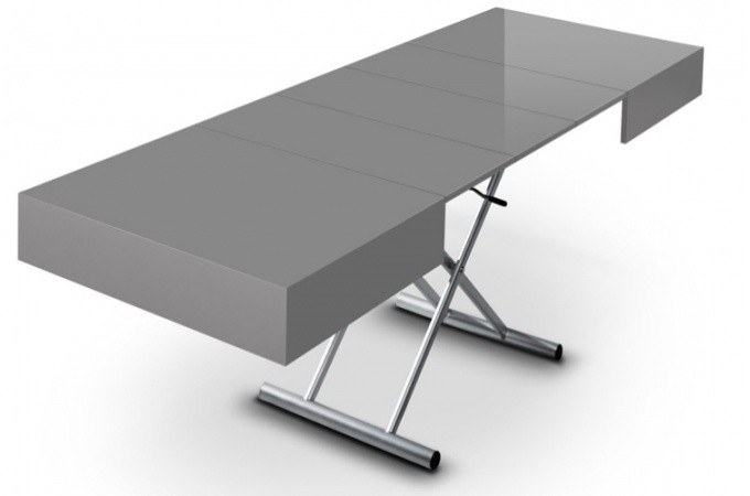 table basse relevable rallonge gris laqu extencia. Black Bedroom Furniture Sets. Home Design Ideas