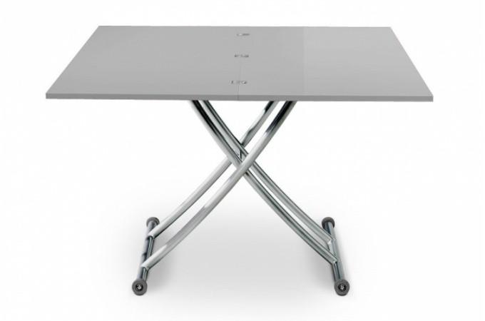 Table basse relevable rallonge laqu gris ella declikdeco for Table extensible gris laque