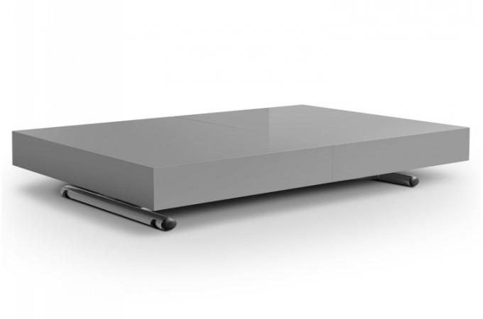 Table basse relevable rallonge gris laqu extencia - Table basse relevable a rallonge ...