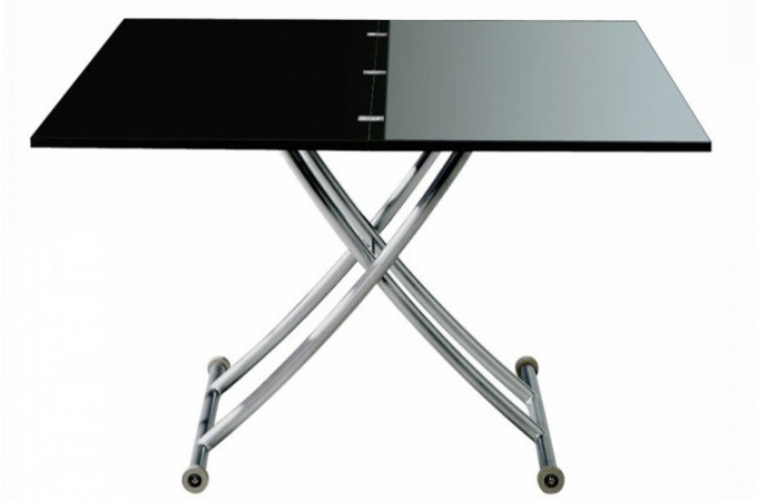 Table basse relevable rallonge noir laqu ella tables for Table avec rallonge pas cher