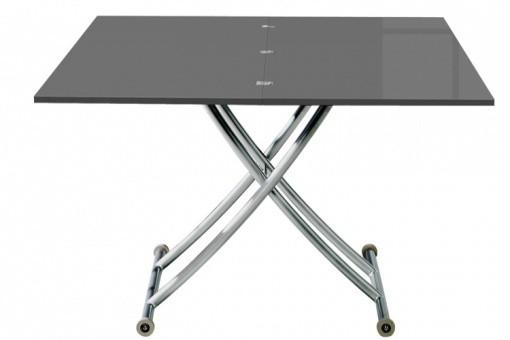 Table basse relevable rallonge laqu gris ella tables - Table basse relevable a rallonge ...