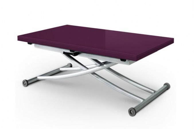 Table basse relevable rallonge laqu violette ella - Table basse relevable avec rallonge ...