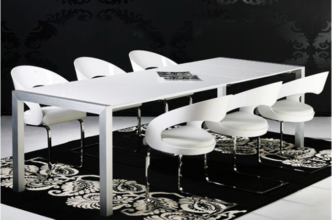 Table manger rallonge prestige blanc laqu tables for Table a manger avec rallonge pas cher