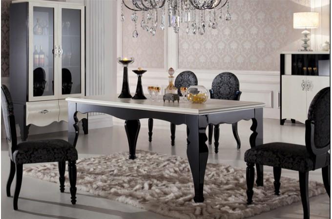 Table repas baroque croco noir et taupe kimo tables for Table de chevet baroque noir