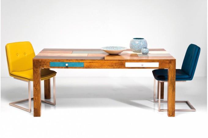 Table de repas multicolore en bois beverly 180x90 cm - Table a manger en bois pas cher ...