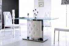 Table de salle à manger pied capitonné blanc Carla, deco design