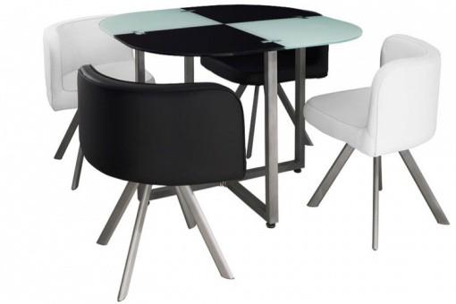 Table Repas Damier avec 4 Chaises, deco design