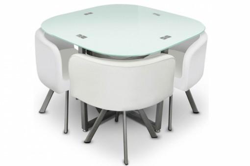 Table repas damier 4 chaises blanche tables manger pas cher - Table pliante avec 4 chaises integrees ...