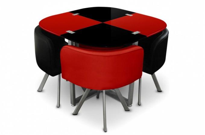 Table repas damier 4 chaises rouge et noir tables - Table a manger style industriel pas cher ...