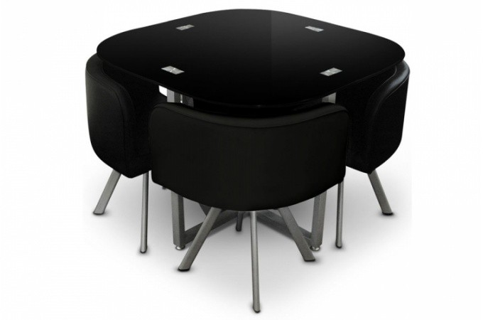 Ensemble table 4 chaises damier noir achat table pas ch re sur declikdeco - Table 4 chaises pas cher ...