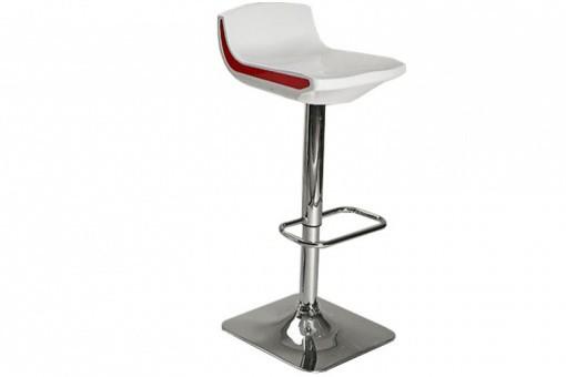 tabouret de bar r glable blanc au pied chrom franklin. Black Bedroom Furniture Sets. Home Design Ideas