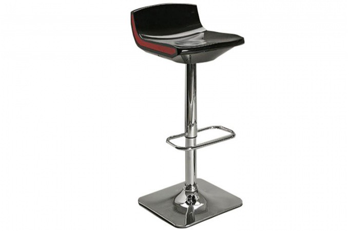 tabouret de bar r glable noir au pied chrom franklin. Black Bedroom Furniture Sets. Home Design Ideas