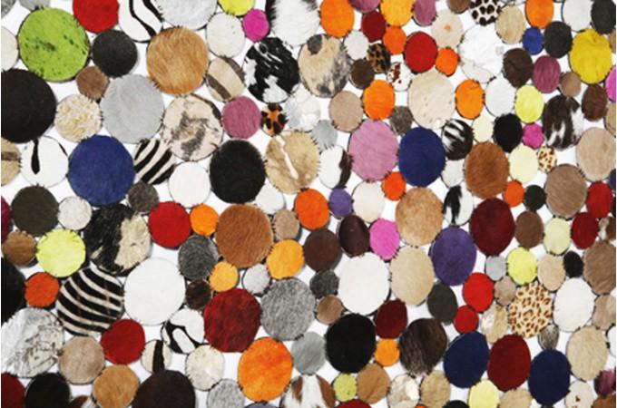 tapis rond design en cuir multicolor 250x250 tapis design pas cher. Black Bedroom Furniture Sets. Home Design Ideas